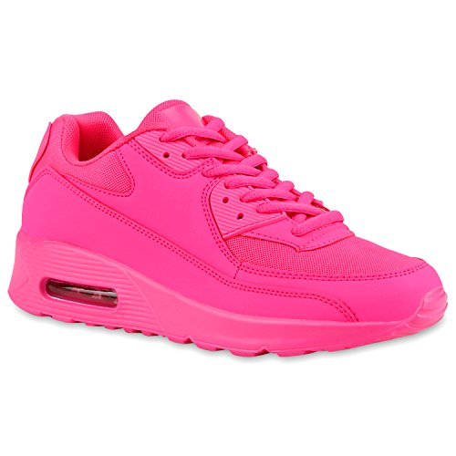 Damen Sport Lack| Sneakers Schnürer Sneaker Low Lauf Runners Neon Leder-Optik Camouflage Schuhe 115400 Neonpink Pink 38 | Flandell®