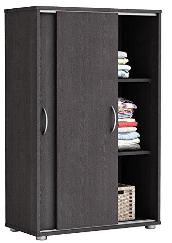 Wäscheschrank braun 2 Türen B 68 H 106 cm Schrank Schiebetürenschrank Holzschrank Kinderzimmer Jugendzimmer Schlafzimmer Kleiderschrank