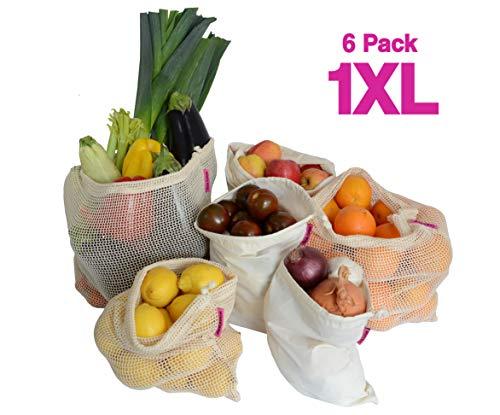 WiseWay Bolsas de Productos Reutilizables de Algodón | Juego de 6 piezas 1XL, 2L, 2M, 1S - Malla y Muselina de Algodón Natural | Bolsas de Verduras, Frutas y Vegetales, Lavable, Doble Costura, Sin BPA