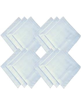Tinksky 12Pcs Blanco Hombres Algodón Hombres Plain Pañuelos Boda Favors