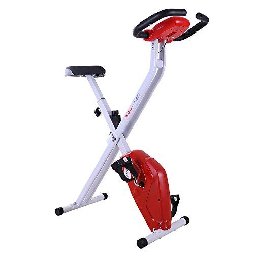 Homcom Bicicleta de Fitness Plegable Bicicleta Estática de Spinning Pantalla LCD Asiento Ajustable Resistencia Regulable a 8 Niveles Carga 110kg 83x43x110cm Acero Blanco