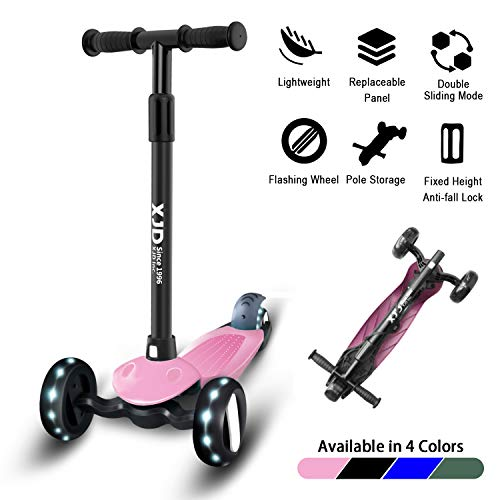 XJD Kinderroller 3 Räder Dreiradscooter Kinderroller ab 3 Jahre Höhenverstellbar mit PU Leuchtenden Räder Richtungssperre für Kinder 1,5-10 Jahre Alt (Pink)