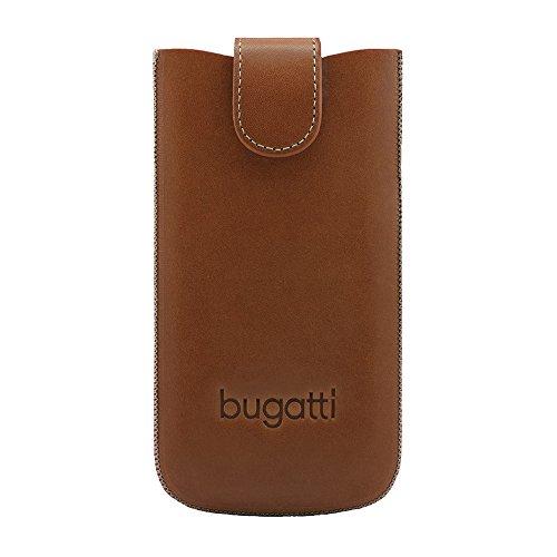 bugatti SlimCase York Premium Echtledertasche für z.B. Apple iPhone 4 / 4S, Samsung Galaxy SIII mini, uvm. [Größe: M | Cognac | Karo-Innenfutter | Gürtelschlaufe | Magnetverschluss] - 08737