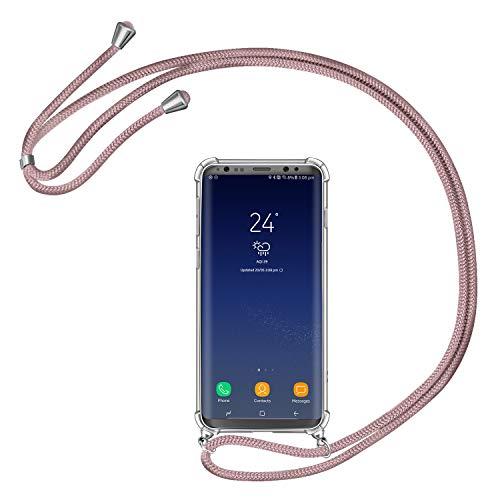 AROYI Handykette Handyhülle für Samsung Galaxy S8 Hülle mit Kordel zum Umhängen Necklace Hülle mit Band Schutzhülle Transparent Silikon Acryl Case für Samsung Galaxy S8 -Roségold