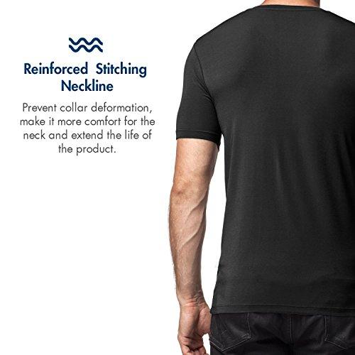Lapasa 2er Pack Herren V-neck T-shirts - SUPER WEICHES MICRO MODAL - Business kurzarm Unterhemd mit V-Ausschnitt Für Männer M08 Schwarz