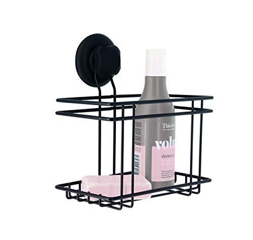 Compactor Cesta de Ducha para el baño, Fijación por ventosas, hasta 6 Kg,RAN9776, Acero Negro Cromado antioxidante, 18,5 x 13,2 x 20,3 cm