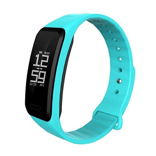 TPulling Smart Wrist Band Sleep Sport Fitness Aktivität Herzfrequenz Tracker Schrittzähler Armbanduhr (Himmel blau)