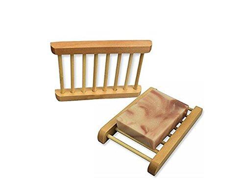 NYE NEIL Unpolished Wooden Dowel Soap Dishes Holder Racks ( 2PCS)