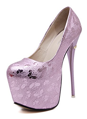 Aisun Damen Sexy Schmetterling Muster Ultra High Heels Plateau Pumps Rosa