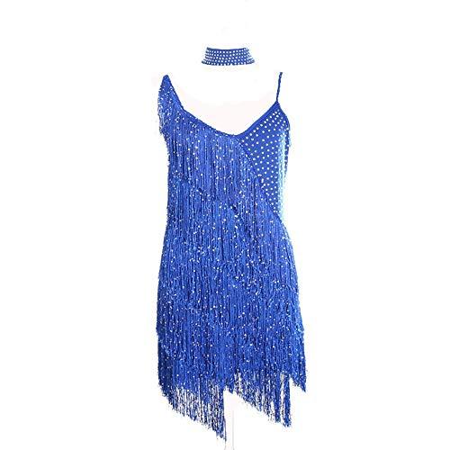 Stück Tanz Lyrischen Blau 2 Kostüm - ZONA Elegent Latin Dance Kostüm Für Frauen, Terylene Funkelnde Pailletten, Quasten Ärmellose Strasssteine   Kleid Schwarz Blau Rot (3 Stück/Paket) Charming (Color : Blue, Size : Free Size)