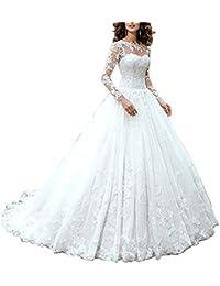 XUYUDITA Mujeres A-line Tulle nupcial vestido de encaje de manga larga vestidos de boda
