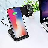 Coloré(TM) [2 en 1] Apple iWatch Support, Chargeur Station, Qi Rapide Chargeur Dock Sans Fil pour iPhone XS/XS MAX/XR /iPhone 7 / 6s Plus Samsung S8 et autres appareils Qi-activés, (Noir)