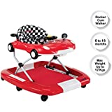 LuvLap Sports Baby Walker & Rocker, Height Adjustable with Light & Musical Toys, 6m+ (Red)