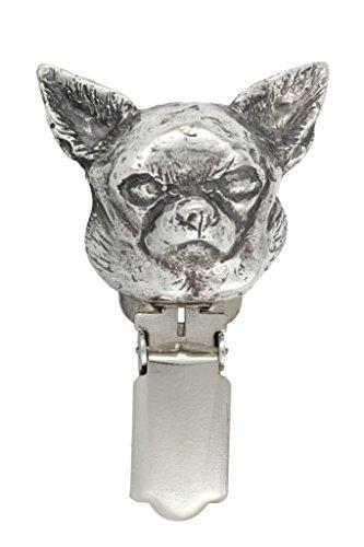 Chihuahua ( glatt), Silberstempel 925, Hund clipring, Hundeausstellung Ringclip/Rufnummerninhaber, limitierte Auflage, Artdog