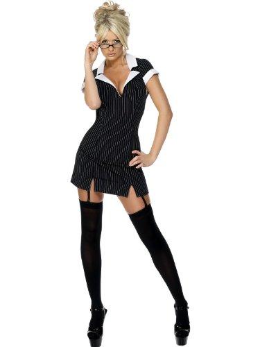 Smiffys Damen Sekretärin Kostüm, Kleid, Brille und Strumpfhalter, Größe: S, 30737
