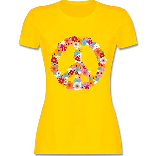 Statement Shirts - Peace Flower Power - M - Gelb - L191 - Damen Tshirt und Frauen T-Shirt