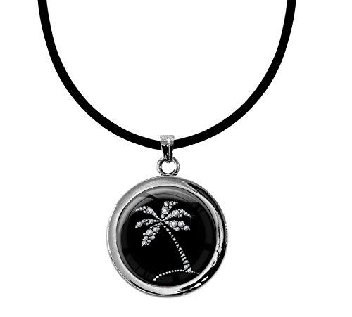 metALUm Kettenanhänger in runder Form'Palme in Silber'