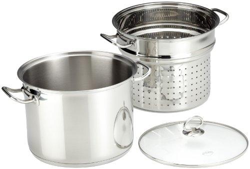 Küchenprofi 2380502824 Pasta Topf mit Glasdeckel, Edelstahl, silber, 27,8 x 30,2 x 30,2 cm