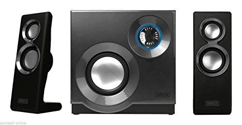 Eurosell - Designer Soundsystem - 2.1 Lautsprecher System für Fernseher / Pc Computer Laptop Notebook Gamer Gaming TV Box Boxen mit Subwoofer schwarz Lautsprechersystem