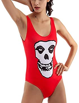 PRIDE S Bikini Costume da bagno di un pezzo skeleton di stampa del costume da bagno ( Colore : Rosso , dimensioni...