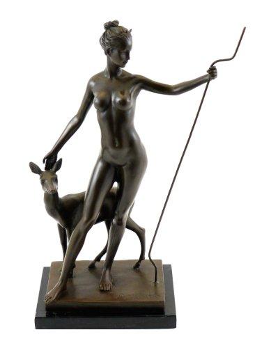 Kunst & Ambiente - Edward McCartan - Diana mit Reh - signiert - Griechische Göttin der Jagd - Skulptur - Bronzefigur - Deko Figur - Wohndeko