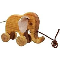 Elefant Kaninchen f/ür Kinder ab 1 Jahren Holztier Nachziehtier Raupe Elefant D DOLITY Nachziehspielzeug aus Holz