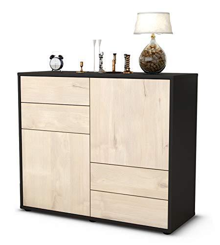 Stil.Zeit Sideboard Ciara/Korpus anthrazit matt/Front Holz-Design Zeder (92x79x35cm) Push-to-Open Technik & Leichtlaufschienen