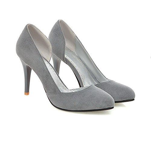 AllhqFashion Femme Su/éd/é Fermeture dorteil /à Talon Correct Chaussures L/égeres