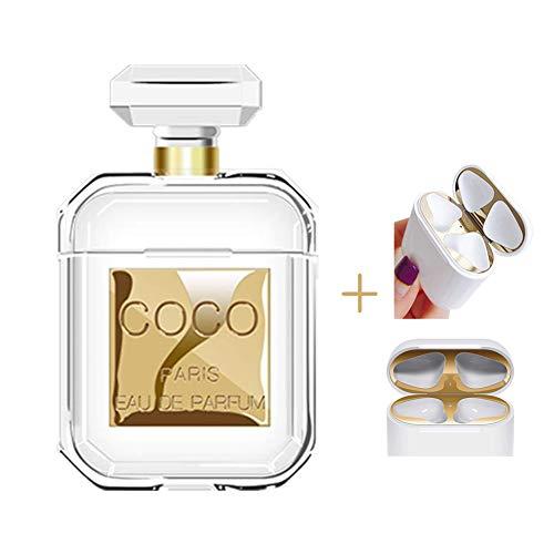 Lybenny Airpods Fall für Frauen Parfümflasche Fall Clear Skin Stoßfest mit Schlüsselbund Airpods Zubehör Mit einem Staubaufkleber (Flasche Gold)