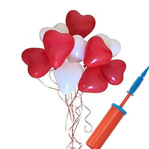 Sachsen Versand 100 rot-weiße Herz-Luft-Ballon-Hochzeit-Herzluftballons-Deko-Geschenk-Idee-Schmuck-Schmücken-Helium Plus Ballonpumpe
