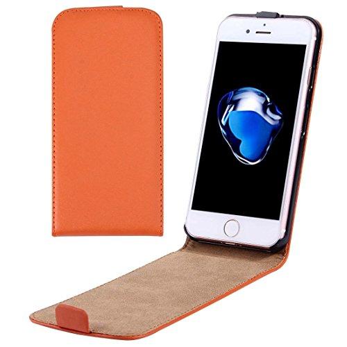 Casse del telefono mobile & Cover, Per il caso di cuoio di iPhone 7 Plus verticale flip Genuine Split ( Colore : Arancia )