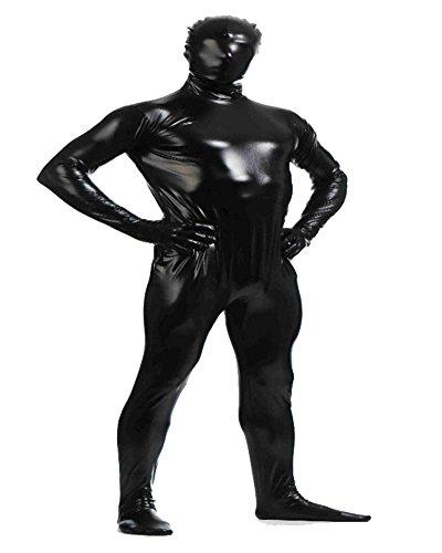 Ideen Männer Kostüme (Shiny Ganzkörperanzug Ganzkörperanzug Anzug Suit Kostüm Schwarz)