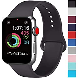 AK Compatible avec Apple Watch Bracelet 42mm 38mm 44mm 40mm, Bracelet de Sport en Silicone Remplacement Compatible avec la série 4, la série 3, la série 2, la série 1 d'iWatch (01 Noir, 38/40mm M/L)