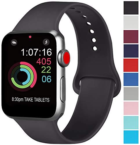 AK kompatibel Apple Watch Armband 42mm 38mm 44mm 40mm, Weiche Silikon Sport Ersatz Armband kompatibel iWatch Series 4, Series 3, Series 2, Series 1 S/M M/L (01 Schwarz, 42/44mm M/L)