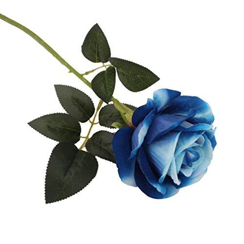 Bobopai Bouquet Artificial Rose Fake Silk Flower Leaf Bridal Great for Home Wedding Party Decor (Bue) -
