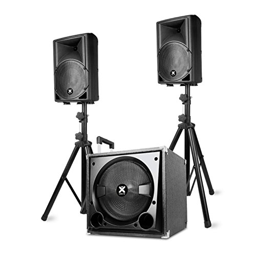 Vonyx VX800BT • 2.1-Aktiv-Lautsprecher-Set • PA Anlage • Soundanlage • 1 x Subwoofer mit 500 W • 2x Speaker mit 300 W • Bluetooth • USB und SD • Bass- und Treble-Regler • ABS-Gehäuse • schwarz