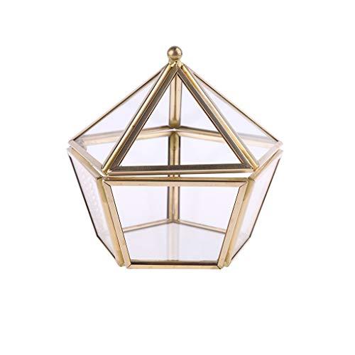 ZJfloral Schmuckkästchen, Pentagon, geometrisch, Klarglas, für Halsketten, Armbänder, Hochzeit, Ohrringe, Halsketten, Geschenk für Mädchen Mutter und Frauen