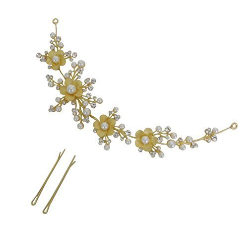 Prita Silver Brass Foldable Floral Stone Hair Clip With Pins For Women