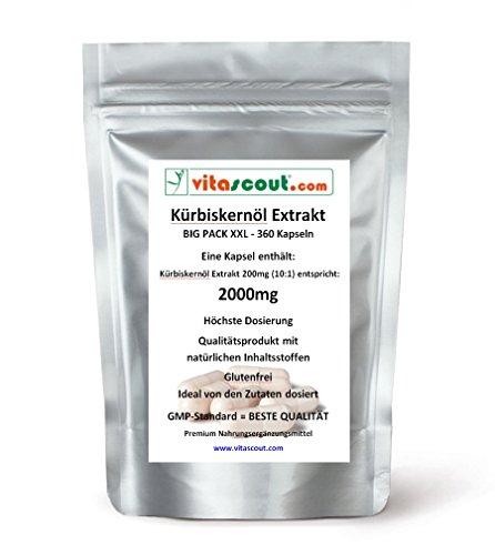 360 Kapseln Kürbiskernöl Extrakt 2000mg (aus 200mg Extrakt 10:1) - HOCHDOSIERT! - PN: 10342