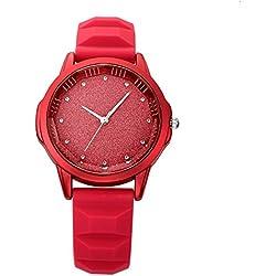 JSDDE Uhren,Fashion Damen Armbanduhr Strass Glitzer Dial Silikon-Band Ladies Dress Analog Sport Quarzuhr,rot