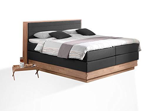 moebel-eins MENOTA Boxspringbett mit Bettkasten, massivem Holzrahmen und Stoffbezug, 200 x 200 cm, schwarz, Härtegrad 2