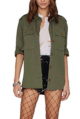 BININBOX® Fashion Damen Retro-Stil Jacke militärisch Mantel Jacke für Frühling und Herbst in Armeegrün (Deutsche Gr.XS/Hersteller Gr.M, Armeegrün) (Militärischen Jacke Frauen Stil)