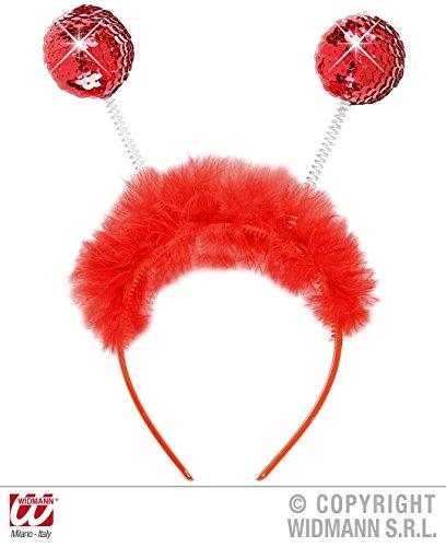 - ROTE KUGELN - am Haarreif mit Paillettenbesatz & Kunstfedern, Kopfschmuck Lady Bug Kopfbedeckungen