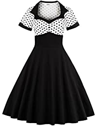 VKStar® Vintage 50er jahre Cocktailkleid Kurzarm Abendkleid mit Punkte Rockabilly Swing Kleid