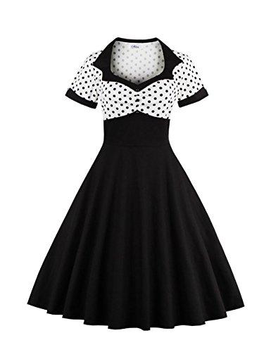 VKStar® Vintage 1950s Cocktailkleid Kurzarm Abendkleid mit Punkte Rockabilly Swing Kleid weiß (Kleider Petticoat)