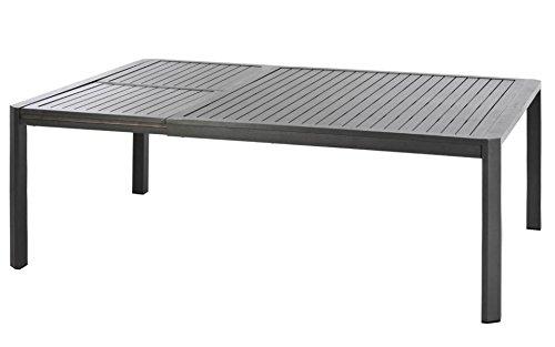 Table de jardin extensible en Aluminium, coloris graphite - Dim : L157/223 x P150 x H75 cm -PEGANE-