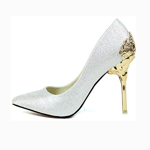 GHFDSJHSD Europa und die Braut Sandalen Schuhe Hochzeit Schuhe Schuhe hohlen Metallwildleder wies hohe Absätze USA, 38