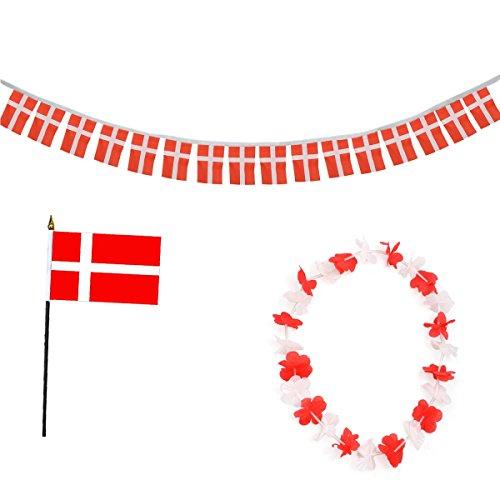 -Paket-9 WM EM Fußball Fan Girlande Mini Flagge Hawaiikette Farbe Dänemark ()