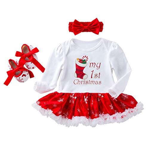Cuteelf Baby Langarm Weihnachten Weihnachten Hut Brief drucken Polka Dot Rock Kleid + Haarband + Schuhe Weihnachten Hut einteiliges Kleid Tutu Rock Überschuh