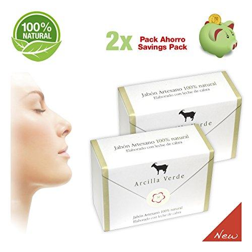 Jabones del Pirineo - Pack de 2 Jabones de Leche de Cabra con Arcilla Verde 100% Natural para Pieles Sensibles. Regenerador dérmico